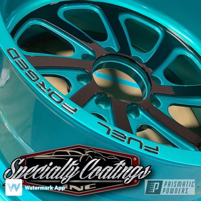 """Powder Coating: Automotive,Heavy Silver PMS-0517,JAMAICAN TEAL UPB-2043,Custom Wheels,20"""" Wheels,Multi Stage Application,20"""",Fuel Forged,Powder Coated Two-tone Wheels"""