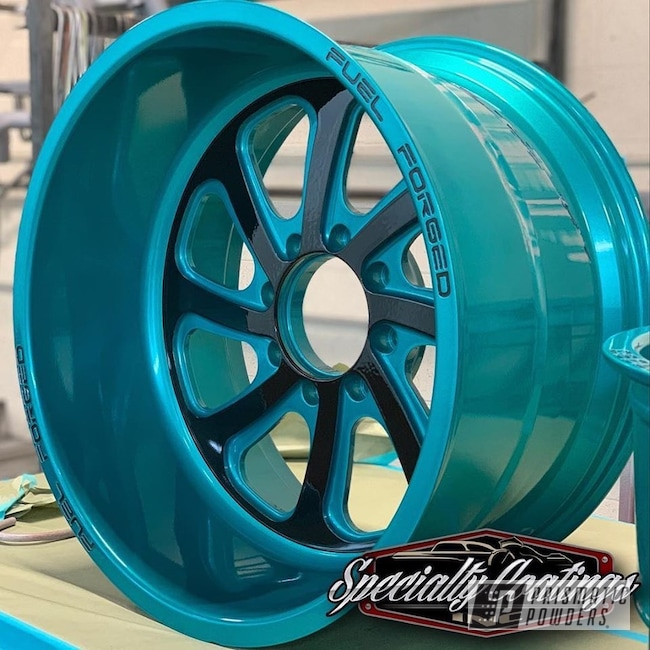 "Powder Coating: Automotive,Heavy Silver PMS-0517,JAMAICAN TEAL UPB-2043,Custom Wheels,20"" Wheels,Multi Stage Application,20"",Fuel Forged,Powder Coated Two-tone Wheels"