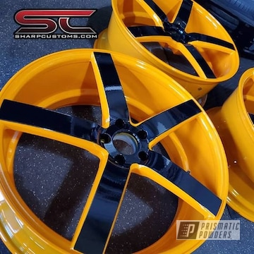 Powder Coated Orange Set Of Custom Rims