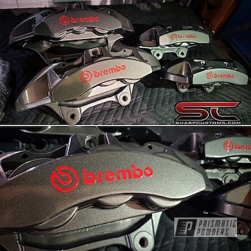 Powder Coated Grey Brembo Brake Calipers