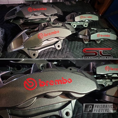Powder Coating: Automotive,Brakes,Brembo,Brake Calipers,Kingsport Grey PMB-5027