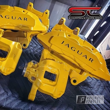 Powder Coated Yellow Jaguar Brake Calipers