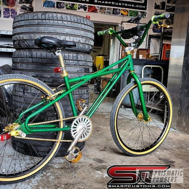 Powder Coating: Bicycles,Illusion Money PMB-6917,Clear Vision PPS-2974,Bicycle Frame