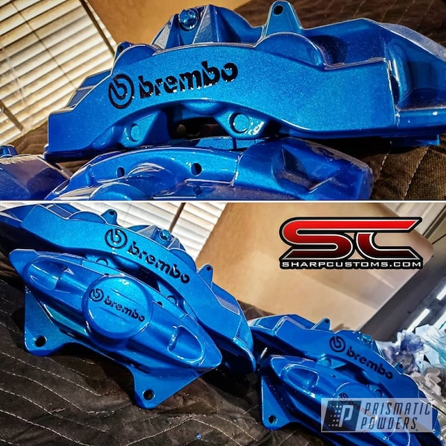 Powder Coating: Automotive,Clear Vision PPS-2974,Brembo,Brake Calipers,Illusion Lite Blue PMS-4621