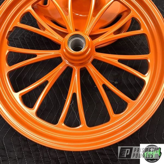 Powder Coating: Automotive,Harley Davidson,Celestial Orange PMB-2715,Motorcycle Rims,Motorcycle Parts,Motorcycles