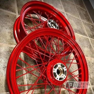 Powder Coated Red Harley Motorcycle Rims