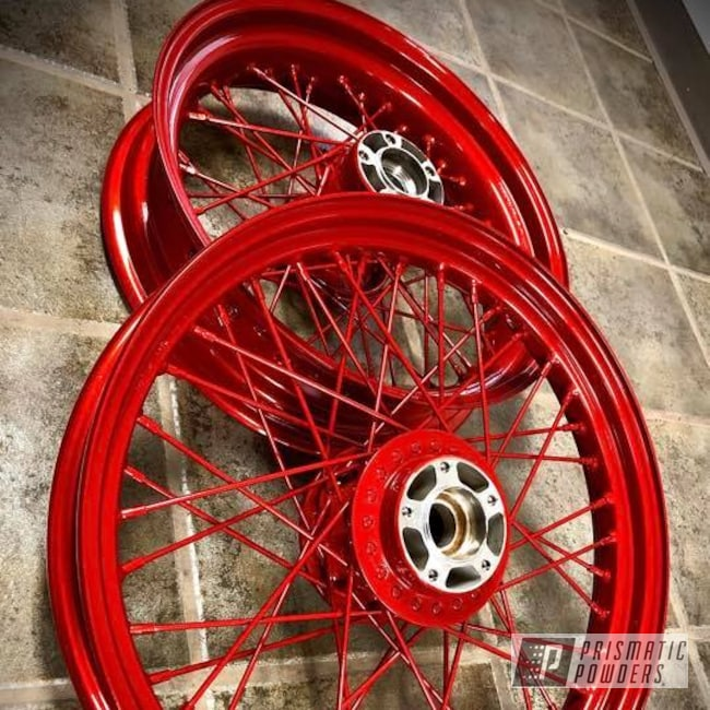 Powder Coating: Wheels,Automotive,Harley Davidson,Clear Vision PPS-2974,Motorcycle Rims,Illusion Red PMS-4515