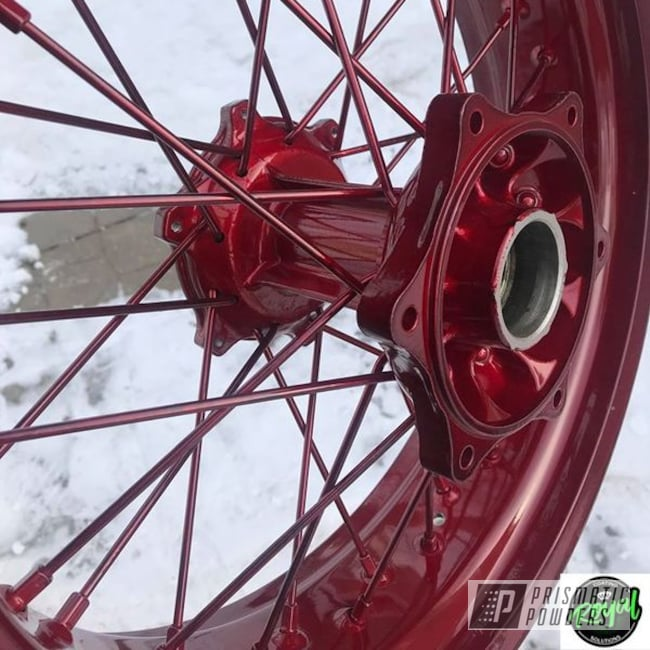 Powder Coating: Wheels,Automotive,Harley Davidson,Clear Vision PPS-2974,Motorcycle Parts,Motor Bike Parts,Motorcycle Wheels,Illusion Cherry PMB-6905