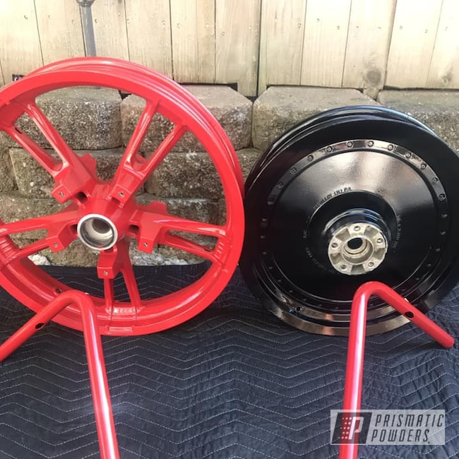 Powder Coating: Wheels,handlebars,Automotive,Ink Black PSS-0106,Motorcycles,RAL 3002 Carmine Red