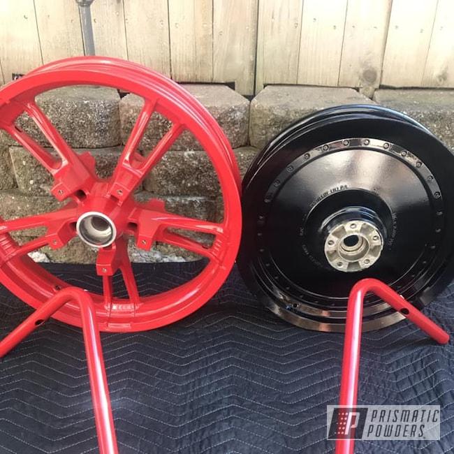Powder Coating: Wheels,handlebars,Automotive,Ink Black PSS-0106,RAL 3002 RAL-3002,Motorcycles