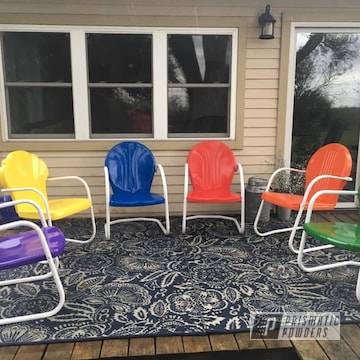 Powder Coated Refinished Metal Patio Chairs