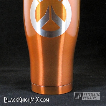 Powder Coated Orange Overwatch Themed Tumbler