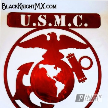 Powder Coated Red Usmc Veteran Metal Sign