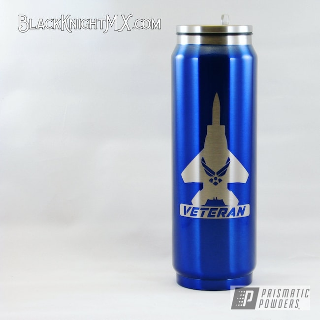Powder Coating: United States Air Force,HOGG,Yeti Style,Black Knight Metalworx,Intense Blue PPB-4474,Veteran,Black Knight MX,USAF,17oz Tumbler,F-15