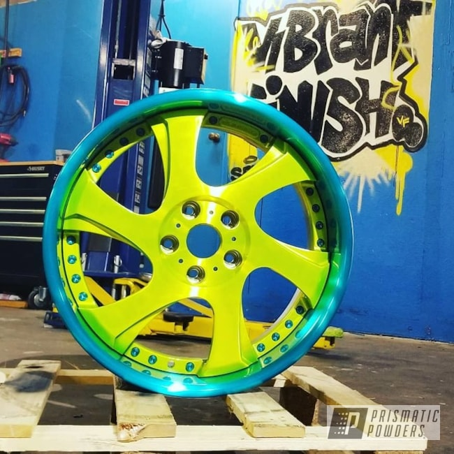 Powder Coating: Wheels,Automotive,JAMAICAN TEAL UPB-2043,3pc Wheels,Shocker Yellow PPS-4765