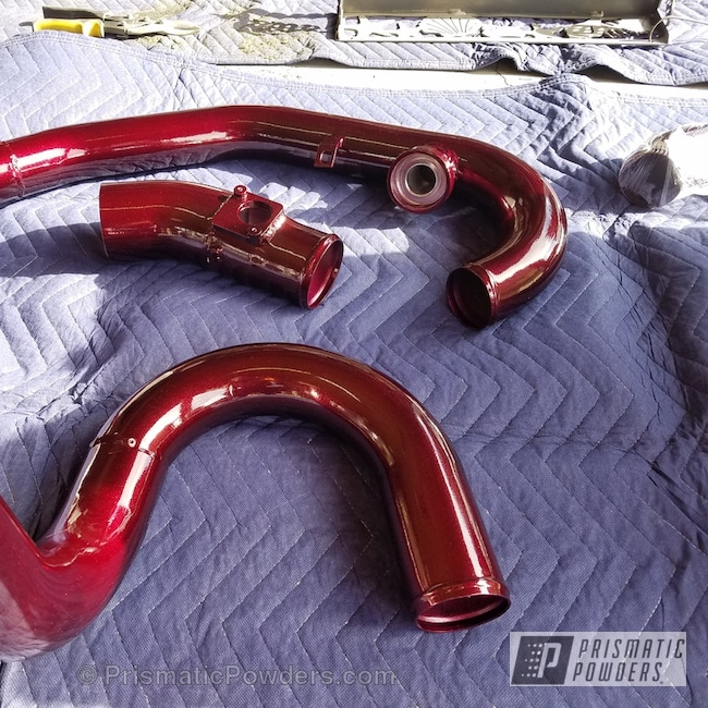 Powder Coating: Automotive,Two Stage Application,Custom Automotive Parts,Intercooler Piping,CULVER GOLD/RED UPB-6013,Illusion Malbec PMB-6906