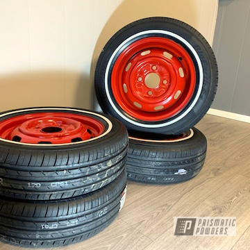 Powder Coated Red Refinished 1960's Vw Rims