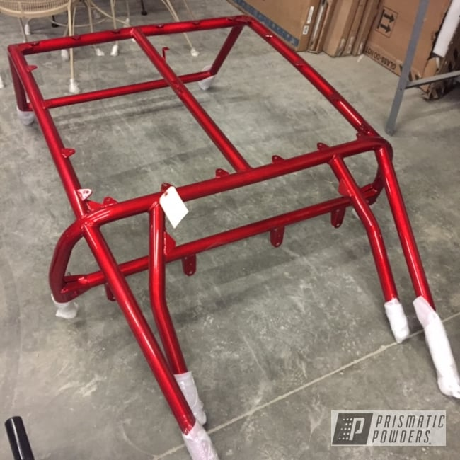 Powder Coating: Automotive,Polaris RZR,Heavy Silver PMS-0517,ATV,LOLLYPOP RED UPS-1506,Polaris,Rzr Cage
