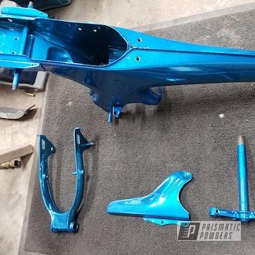 Powder Coated Blue Honda Ct70 Motorcycle Frame