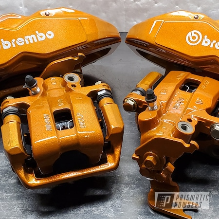 Powder Coating: Lollypop Tangelo PPS-2291,Automotive,Brakes,Brembo Calipers,Brake Calipers,Alien Silver PMS-2569