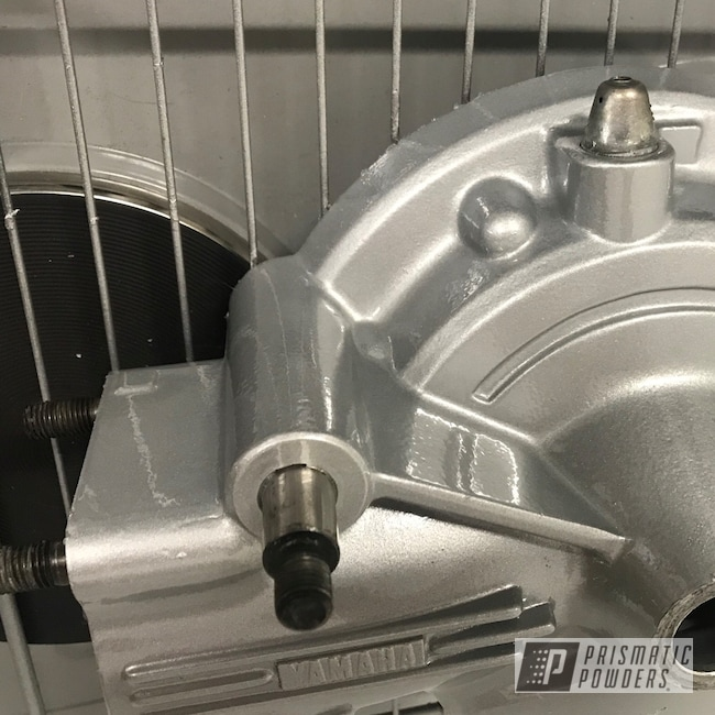 Powder Coating: BMW Silver PMB-6525,Automotive,Clear Vision PPS-2974,Motorcycle Parts,Yamaha,Motor Bike Parts,Epoxy Primer ESS-6518,Motorcycles