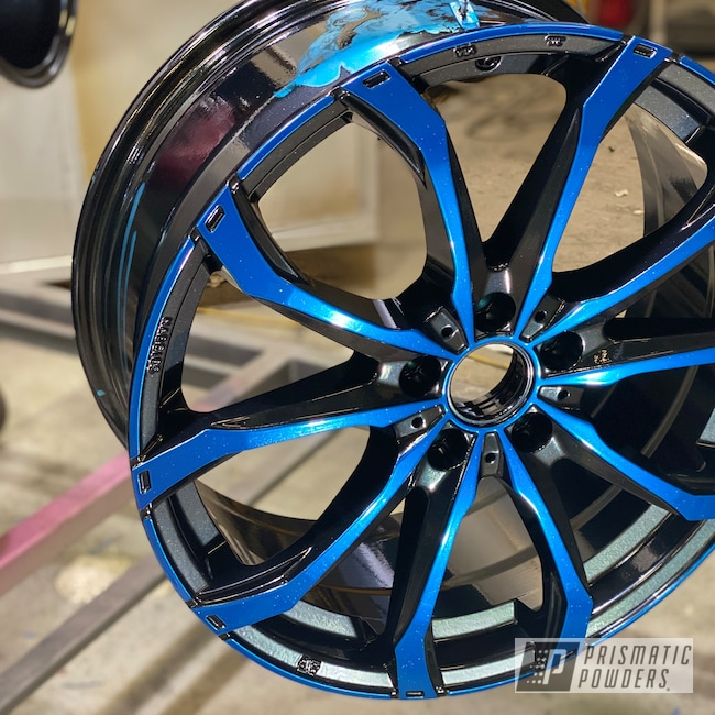 "Powder Coating: Wheels,19"",Automotive,SUPER CHROME USS-4482,Pearl Black PMB-5347,OZ,Two Color Application,19"" Aluminum Rims,Blue Odyssey PPB-5770"