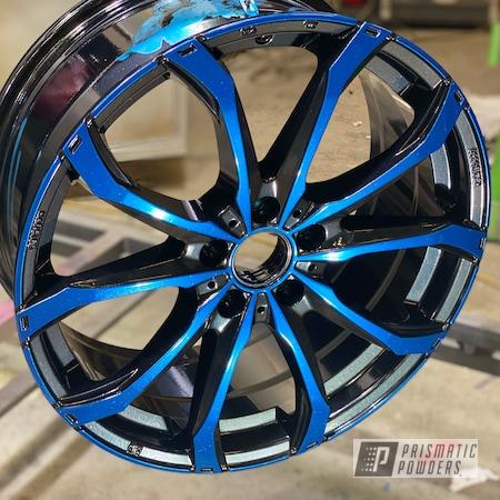 "Powder Coating: Wheels,19"",Automotive,SUPER CHROME USS-4482,Pearl Black PMB-5347,OZ,Two Color Application,19"" Aluminum Rims,Blue Odyssey PPB-5770"