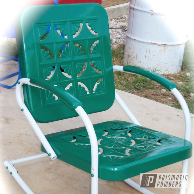 Powder Coating: Custom,Soft Satin White PSS-1353,White,Green,powder coating,powder coated,Prismatic Powders,Torque Green PSS-2393,vintage patio chair,Furniture