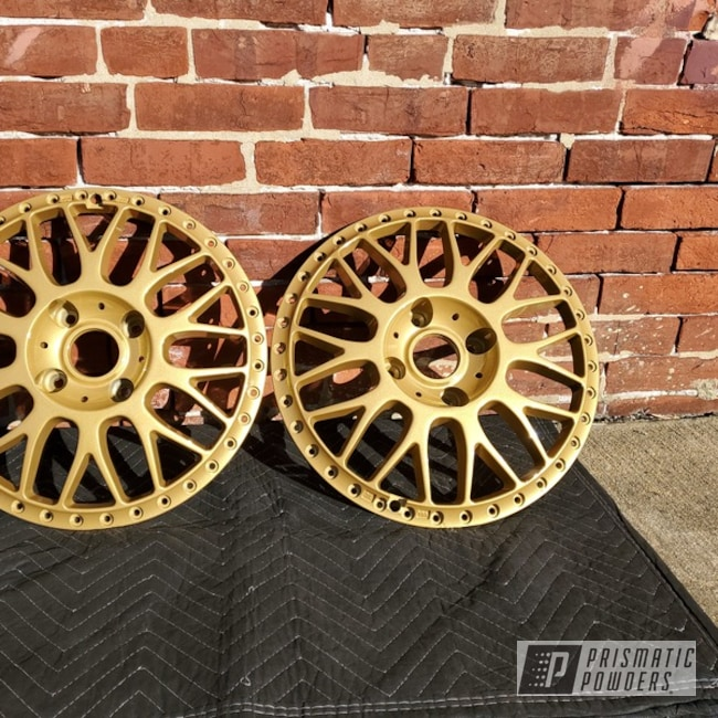 Powder Coating: Wheels,Goldtastic PMB-6625,Automotive,Custom Wheels,Work Wheels
