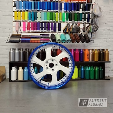 Powder Coated Blue And White 3 Piece Wheels