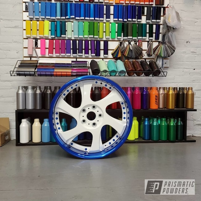 Powder Coating: Wheels,Automotive,Custom Wheels,Peeka Blue PPS-4351,RAL 9016 Traffic White,3 Piece Wheels,Three Piece