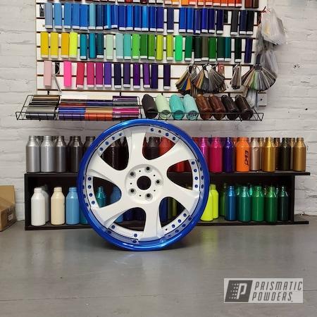Powder Coating: Wheels,Automotive,Custom Wheels,Peeka Blue PPS-4351,RAL 9016 Traffic White,3 Piece Wheels,Three Piece