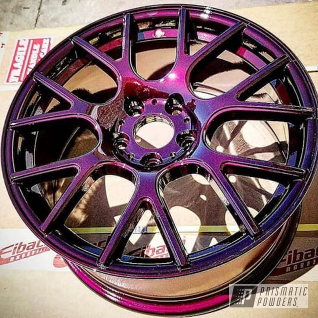 Powder Coating: Wheels,Automotive,Clear Vision PPS-2974,Illusion Malbec PMB-6906