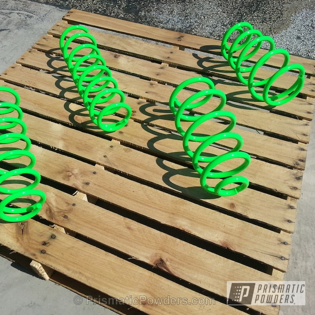Powder Coating: Custom,Automotive,powder coating,powder coated,Prismatic Powders,Neon Green PSS-1221,Glowing Neon Green Coil Springs,Glowbee Clear PPB-4617
