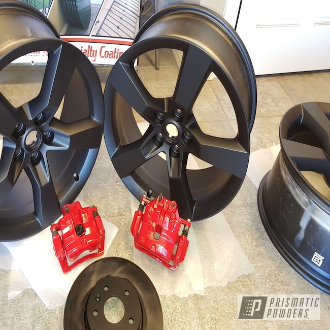 Powder Coating: Wheels,Automotive,BLACK JACK USS-1522,Powder Coated Wheels,Astatic Red PSS-1738,Custom Brake Calipers