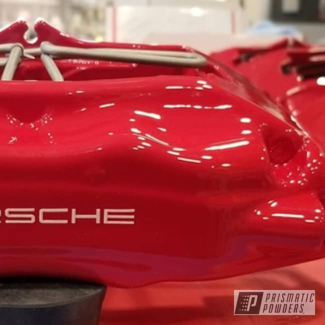 Powder Coating: Automotive,Clear Vision PPS-2974,Brembo,Brake Calipers,Porsche,Astatic Red PSS-1738