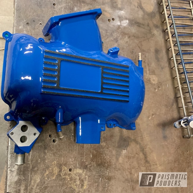 Powder Coating: Intake Manifold,Automotive,Clear Vision PPS-2974,Ford Dark Blue PSB-4624,Ford,Dark Grey Sparkle PMB-2750,Mustang