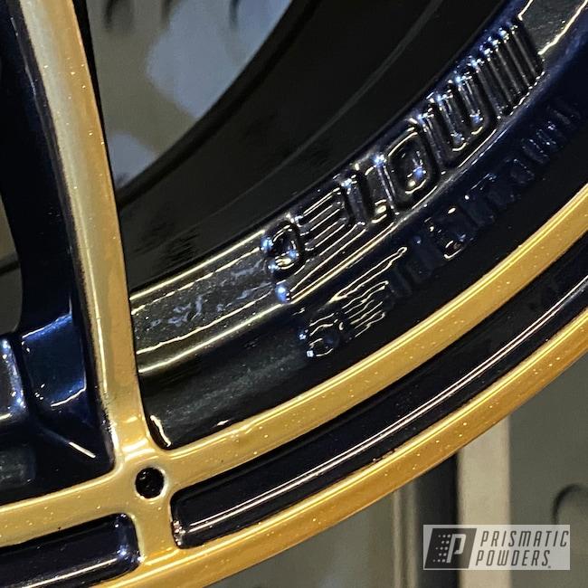 Powder Coating: Wheels,Automotive,Mini Cooper,Clear Vision PPS-2974,2 Tone Rims,SUPER CHROME USS-4482,Pearl Black PMB-5347,Trans Glitter Gold PPB-8167,Motec Rims