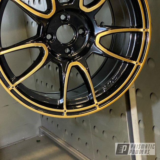 Powder Coating: Wheels,Automotive,Mini Cooper,Clear Vision PPS-2974,2 Tone Rims,SUPER CHROME USS-4482,Pearl Black PMB-5347,Trans Glitter Gold PPB-8167,Motec Rims