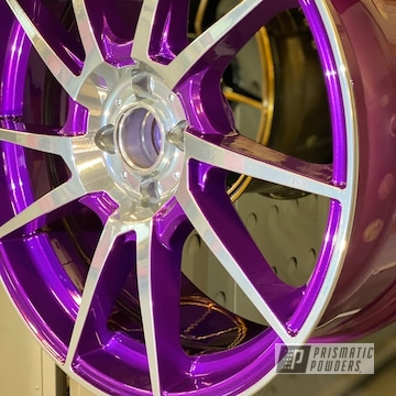 Powder Coated Chrome And Purple Mini Cooper Wheels