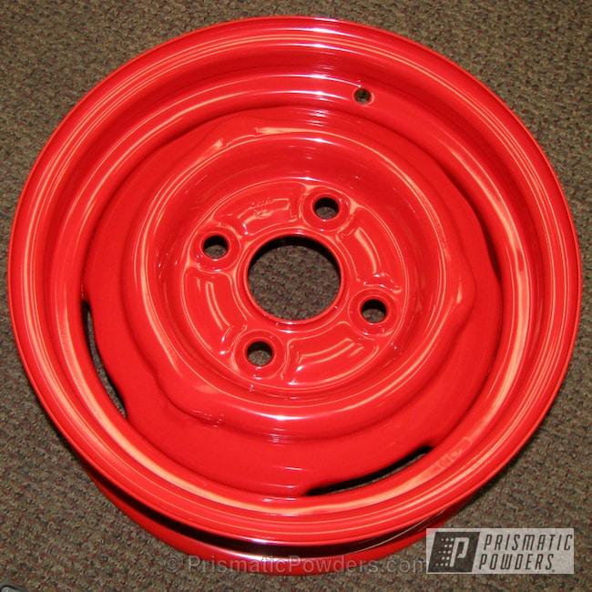 Powder Coating: Wheels,Custom,Steelies,powder coating,red wheels,powder coated,Prismatic Powders,Red Devil PSS-2712