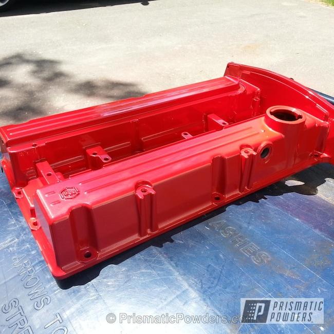 Powder Coating: Custom,Automotive,EVO Valve Cover,red,powder coating,powder coated,Prismatic Powders,Rexford Red PMB-1634,Valve Cover