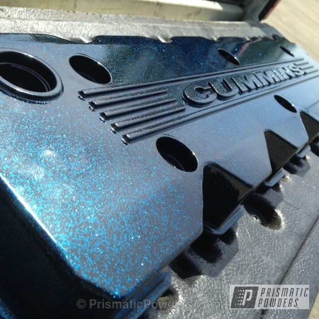 Powder Coating: Custom,Clear Vision PPS-2974,Ink Black PSS-0106,powder coating,powder coated,Prismatic Powders,Black and blue,Custom 2 Coats,Magnum Blue Sparkle PPB-5078,Cummins Valve cover,Valve Cover
