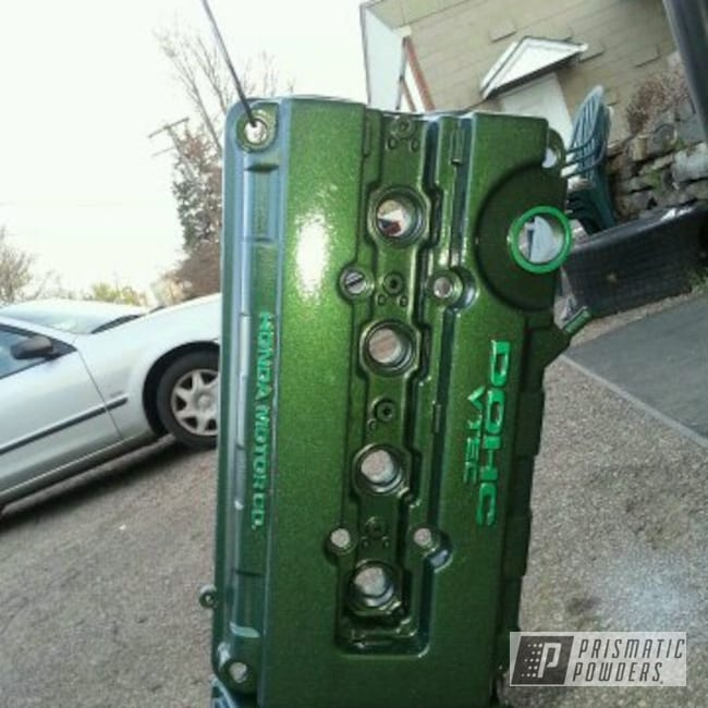Powder Coating: Custom,Green Valve cover,powder coating,Engine Components,powder coated,Prismatic Powders,Custom 2 Coats,Engine Parts,Dew Can Green PPS-2459,Valve Cover,Forrest Green PSS-4827