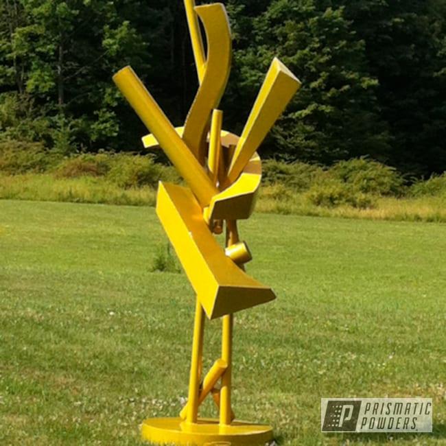 "Powder Coating: Custom,Psycho Yellow PPS-2313,powder coating,powder coated,Prismatic Powders,Art,Sculpture ""Yellow"",aluminum sculpture"