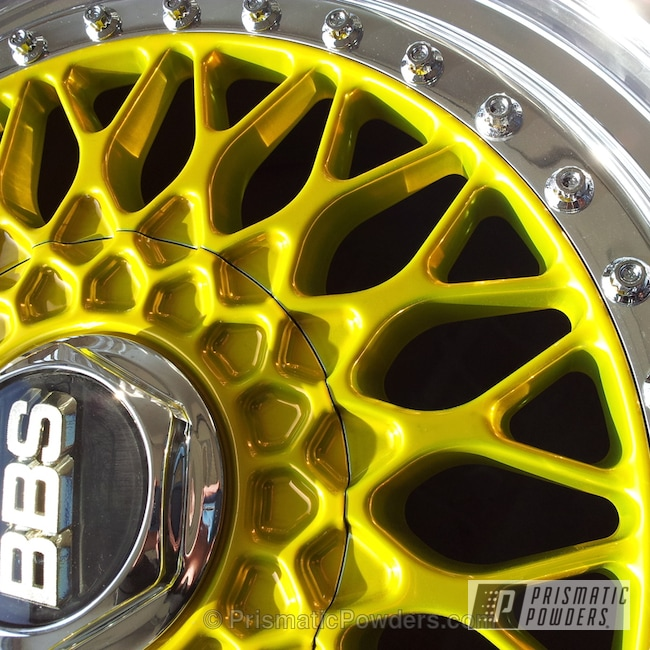 Powder Coating: Wheels,Psycho Yellow PPS-2313,SUPER CHROME USS-4482,chrome,Nissan Wheels  BBS