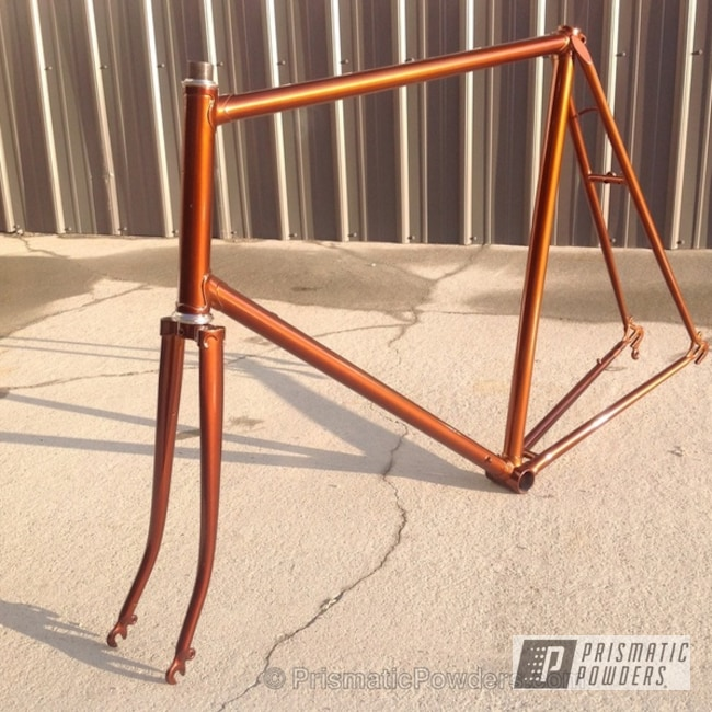 Powder Coating: Custom,1973 Sun touring frame,Bicycles,Transparent Copper PPS-5162,Bike Frame,Copper,powder coating,powder coated,Prismatic Powders