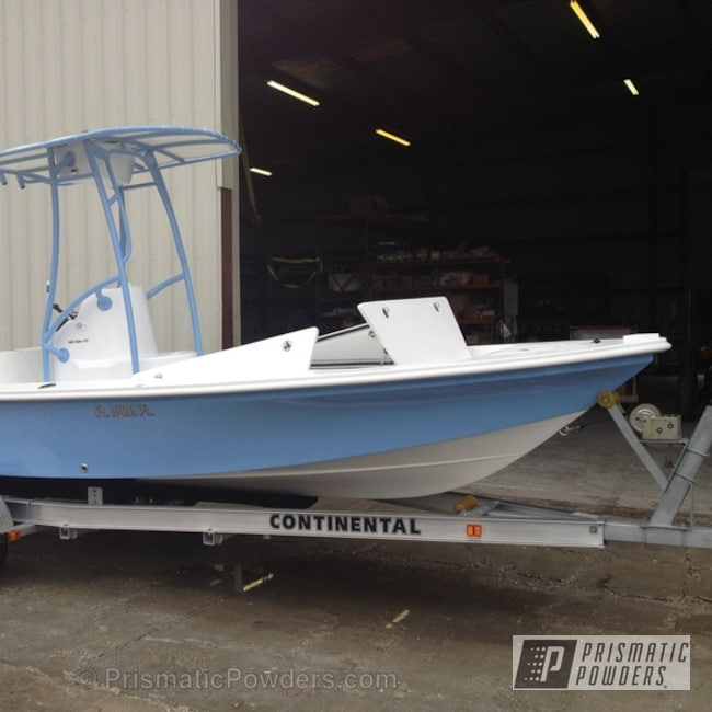 Powder Coating: Custom,Hull color matched to powder coat,Troll Blue PSS-2657,powder coating,powder coated,Prismatic Powders,T-Top for Bonefish - Hill Tide 22' Boat,Miscellaneous