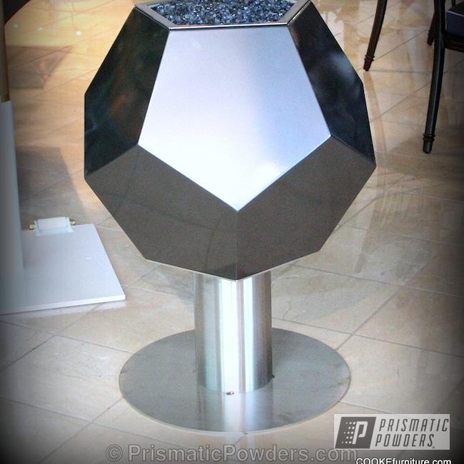 Powder Coating: Custom,chrome,Black,Dodecahedron,powder coating,powder coated,Prismatic Powders,Art,ULTRA BLACK CHROME USS-5204