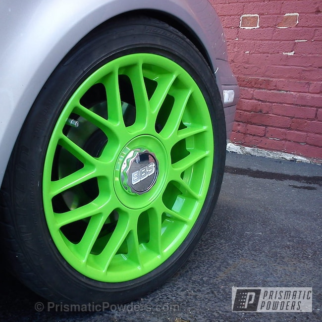 Powder Coating: Wheels,Custom,green VW,powder coating,powder coated,green wheels,Prismatic Powders,Belt,Kiwi Green PSS-5666